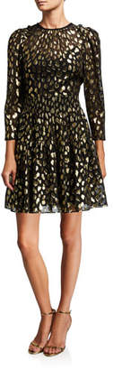 Rebecca Taylor Leopard-Print Metallic Crewneck Dress