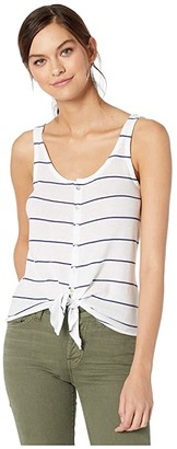 Chaser Gauzy Cotton Button Down Tie Front Tank Top