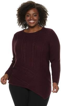 Dana Buchman Plus Size Lurex Asymmetrical Hem Sweater