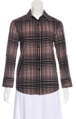Alice + Olivia Grid Print Button-Up Top