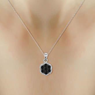 Black Diamond FINE JEWELRY 1/2 CT. T.W. White & Color-Enhanced Cluster Pendant Necklace