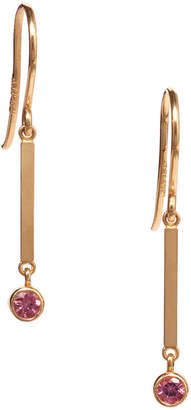 Jennifer Meyer Mini Stick Pink Sapphire Bezel Drop Earrings