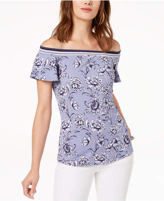 INC International Concepts I.N.C. Printed Off-The-Shoulder Top, Created for Macy's