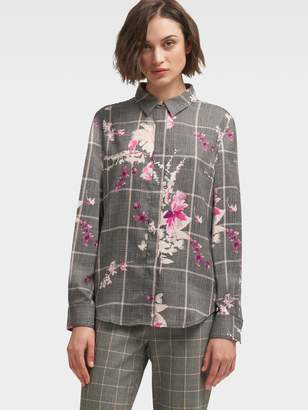 DKNY Floral Check Button-Up Shirt