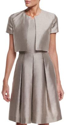 Armani Collezioni Short-Sleeve Taffeta Shrug, Tan $595 thestylecure.com
