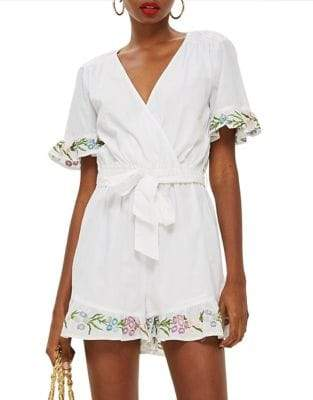 Topshop Flower Embroidered Playsuit