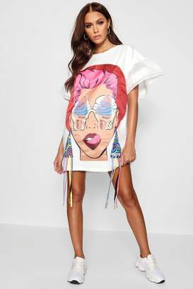 boohoo Embellished Motif T-Shirt Dress