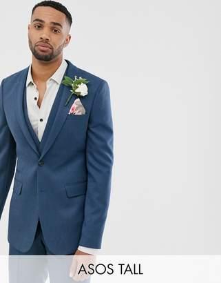 Asos Design DESIGN Tall wedding skinny suit jacket in petrol blue twill