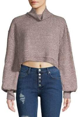 Free People Knit Balloon Sleeve Cropped Pullover