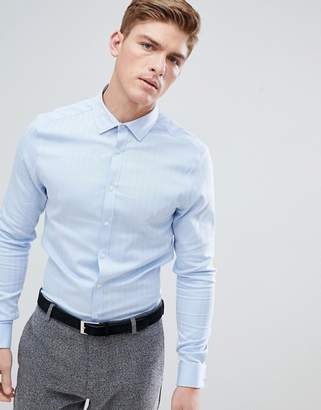 Asos Slim Formal Work Shirt In Herringbone In Double Cuff
