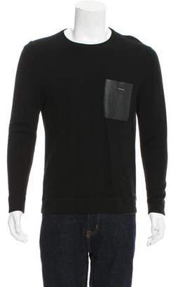 Fendi Leather-Accented Crew Neck Sweater
