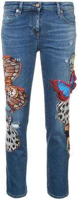 Roberto Cavalli butterfly skinny jeans