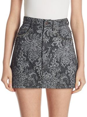 Marc Jacobs Marc Jacobs Lace Denim Mini Skirt