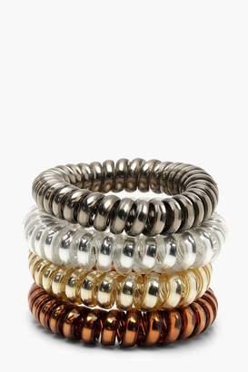boohoo Tonal Metallic Coil Elastic Hair Bands