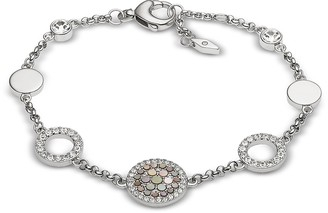 Fossil Silver-Tone Vintage Glitz Crystal Women's Bracelet