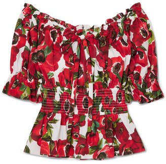 Dolce & Gabbana Off-the-shoulder Ruffled Floral-print Cotton-poplin Blouse - Red