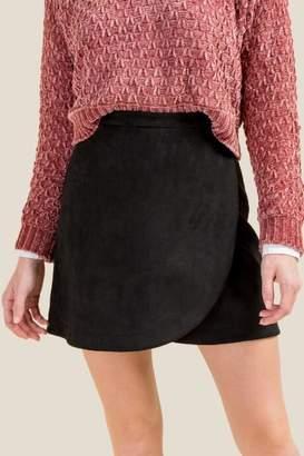 francesca's Jolee Faux Suede Wrap Skirt - Black