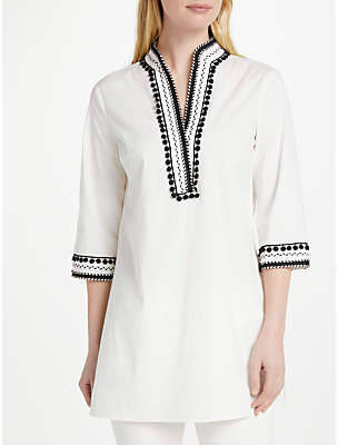 Oui Pom Pom Trim Tunic Top, Eggnog