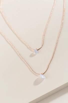 francesca's Larena Layered Pearl Necklace - Rose/Gold