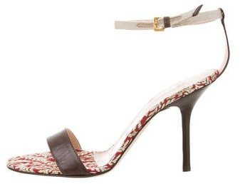Vera Wang Brocade Ankle-Strap Sandals