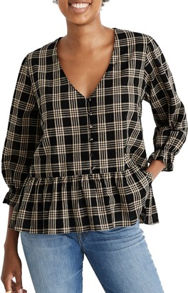 Madewell Courtyard Metallic Plaid Ruffle Hem Top