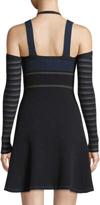Opening Ceremony Striped Knit Fit-and-Flare Cold-Shoulder Dress