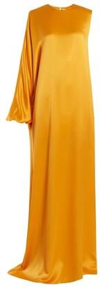 Roksanda Delmira One Shoulder Satin Gown - Womens - Orange