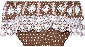 Miguelina Dakota Off-the-shoulder Polka-dot Broderie Anglaise Cotton Top - Chocolate
