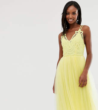 Asos Tall DESIGN Tall Premium lace top tulle cami midi dress