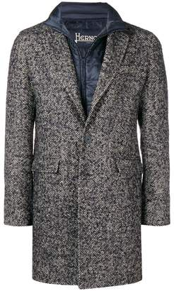 Herno layered single-breasted coat