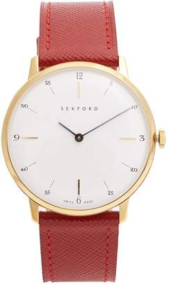 SEKFORD WATCHES Type 1A stainless-steel and saffiano-leather watch