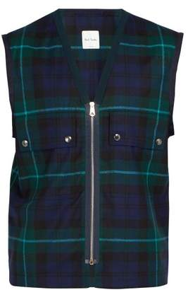 Paul Smith Tartan Wool Gilet - Mens - Green Multi