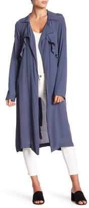 June & Hudson Drape Collar Belted Jacket