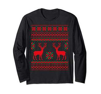 Cute Ugly Christmas Sweater for Womens Kids Deer in The Snow Long Sleeve T-Shirt