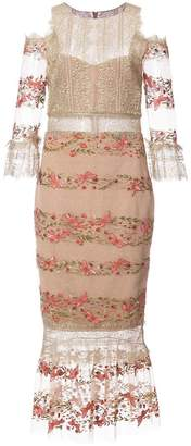 Marchesa embroidery and lace midi dress