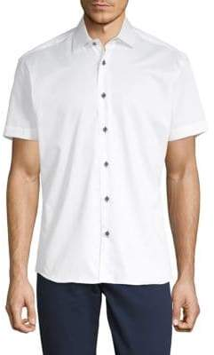 Short-Sleeve Cotton Button-Down Shirt