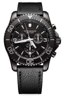 Victorinox Mav Black Titanium& Leather Watch