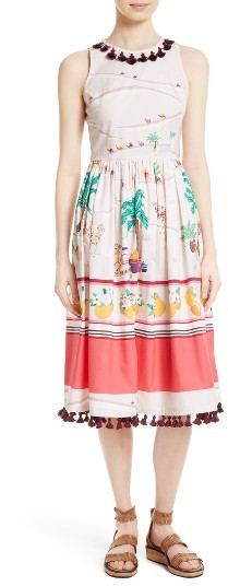 Kate Spade Women's Kate Spade New York Embellished Print Cotton Fit & Flare Dress