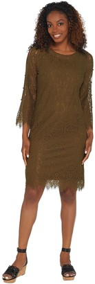 Isaac Mizrahi Live! Lace Split Sleeve Dress with Faux Pearls