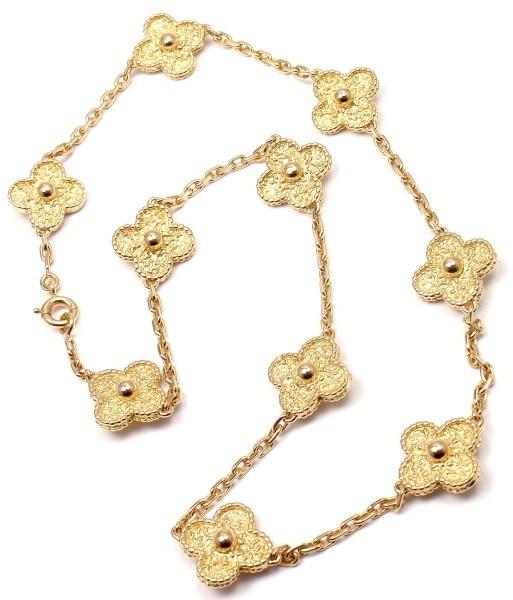 Van Cleef & ArpelsVan Cleef & Arpels 18K Yellow Gold Alhambra Necklace