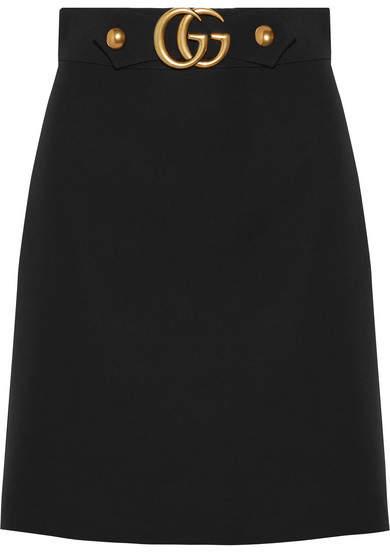Gucci - Embellished Wool And Silk-blend Skirt - Black