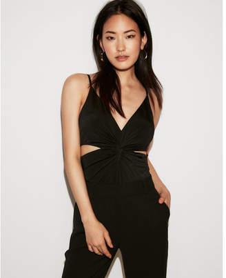 Express petite cut-out twist front thong bodysuit