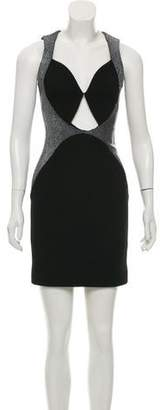 Cushnie et Ochs Leather-Trimmed Wool Dress