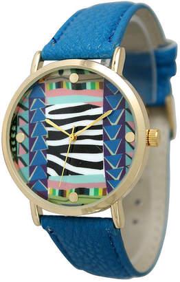 OLIVIA PRATT Olivia Pratt Womens Multi-Color Pattern With Gold-Tone Studs Dial Royal Leather Watch 13628Royal