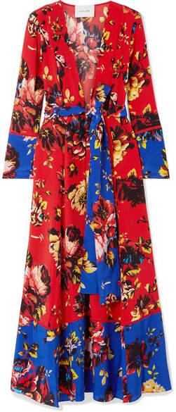 we are LEONE - Floral-print Silk Crepe De Chine Robe - Red
