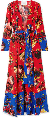 Leone we are Floral-print Silk Crepe De Chine Robe - Red