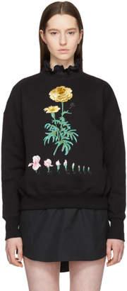 Alexander McQueen Black Embroidered Botanical Sweatshirt