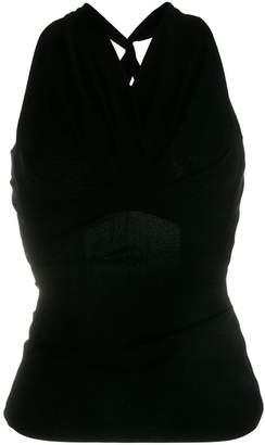Talbot Runhof crisscross back blouse
