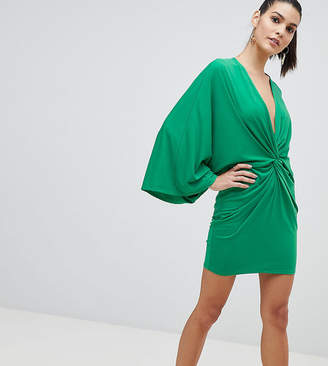 Flounce London Wrap Front Kimono Mini Dress