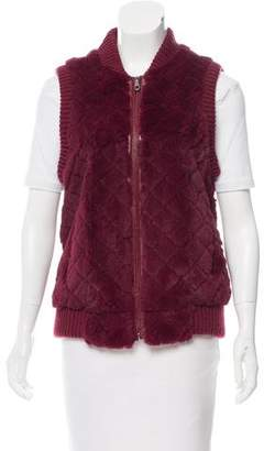 Jocelyn Leather Trimmed Fur Vest